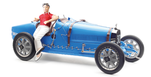 Bugatti T35 Livery with a Female Rcer Figurine blue lim.ed. 600 pcs 1/18